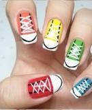 Mang họa tiết dây giày lên nail xinh