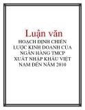 Luận văn: HOẠCH ĐỊNH CHIẾN LƯỢC KINH DOANH CỦA NGÂN HÀNG TMCP XUẤT NHẬP KHẨU VIỆT NAM ĐẾN NĂM 2010