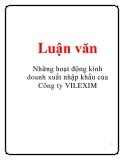Luận văn: Những hoạt động kinh doanh xuất nhập khẩu của Công ty VILEXIM
