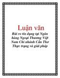 Luận văn: Rủi ro tín dụng tại Ngân hàng Ngoại Thương Việt Nam Chi nhánh Cần Thơ Thực trạng và giải pháp