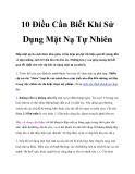 10 Điều Cần Biết Khi Sử Dụng Mặt Nạ Tự Nhiên