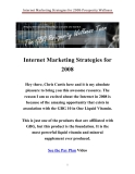Internet Marketing Strategies for 2008