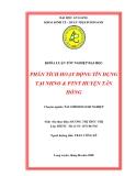 """ĐỀ TÀI """" PHÂN TÍCH HOẠT ĐỘNG TÍN DỤNG TẠI NHNO & PTNT HUYỆN TÂN HỒNG """""""