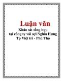 Luận văn: Khảo sát tổng hợp tại công ty vải sợi Nghĩa Hưng Tp Việt trì - Phú Thọ