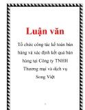 Luận văn: Tổ chức công tác kế toán bán hàng và xác định kết quả bán hàng tại Công ty TNHH Thương mại và dịch vụ Song Việt