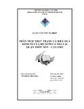 LUẬN VĂN TỐT NGHIỆP PHÂN TÍCH THỰC TRẠNG VÀ HIỆU QUẢ KINH TẾ CỦA HỘ NUÔI CÁ TRA TẠI QUẬN THỐT NỐT – CẦN THƠ