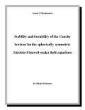 "Đề tài "" Stability and instability of the Cauchy horizon for the spherically symmetric Einstein-Maxwell-scalar field equations """