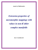 """Đề tài """" Extension properties of meromorphic mappings with values in non-K¨ahler complex manifolds """""""