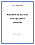 "Đề tài "" Kloosterman identities over a quadratic extension """