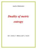 """Đề tài """" Duality of metric entropy """""""