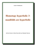 "Đề tài "" Homotopy hyperbolic 3manifolds are hyperbolic """