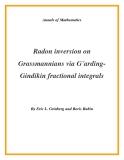 "Đề tài ""  Radon inversion on Grassmannians via G˚ardingGindikin fractional integrals """