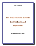 "Đề tài ""  The local converse theorem for SO(2n+1) and applications """