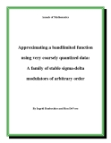 "Đề tài "" Approximating a bandlimited function using very coarsely quantized data: A family of stable sigma-delta modulators of arbitrary order """