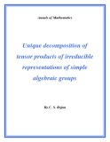 "Đề tài ""  Unique decomposition of tensor products of irreducible representations of simple algebraic groups """