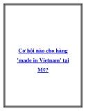 Cơ hội nào cho hàng 'made in Vietnam' tại Mỹ?