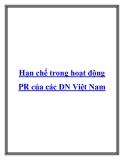 Hạn chế trong hoạt động PR của các DN Việt Nam