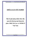 """Luận văn """"Một số giải pháp nhằm thúc đẩy quan hệ thương mại hàng hoá giữa CHDCND Lào và CHXHCN Việt Nam """""""