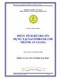 """Luận văn """"PHÂN TÍCH RỦI RO TÍN DỤNG TẠI SACOMBANK CHI NHÁNH AN GIANG """""""