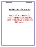 """Luận văn """" ASEM VÀ VAI TRÒ CỦA TIẾN TRÌNH ASEM TRONG VIỆC THÚC ĐẨY MỐI QUAN HỆ Á - ÂU """""""