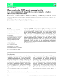 Báo cáo khoa học: Macromolecular NMR spectroscopy for the non-spectroscopist: beyond macromolecular solution structure determination