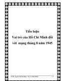 Tiểu luận Vai trò của Hồ Chí Minh đối với  mạng tháng 8 năm 1945