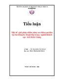 Tiểu luận: Một số giải pháp nhằm nâng cao hiệu quả đào tạo lao động kỹ thuật bếp trong ngành khách sạn tỉnh Kiên Giang