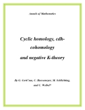 "Đề tài ""Cyclic homology, cdhcohomology and negative K-theory"""
