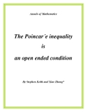 "Đề tài "" The Poincar´e inequality is an open ended condition """