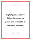 "Đề tài "" Higher genus GromovWitten invariants as genus zero invariants of symmetric products """
