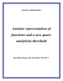 """Đề tài """"  Analytic representation of functions and a new quasianalyticity threshold """""""