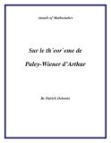 """Đề tài """"  Sur le th´eor`eme de Paley-Wiener d'Arthur """""""