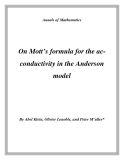 "Đề tài ""  On Mott's formula for the acconductivity in the Anderson model """