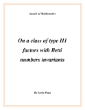 """Đề tài """" On a class of type II1 factors with Betti numbers invariants """""""