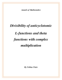 "Đề tài "" Divisibility of anticyclotomic L-functions and theta functions with complex multiplication """