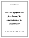 "Đề tài ""  Prescribing symmetric functions of the eigenvalues of the Ricci tensor """