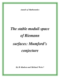 """Đề tài """"  The stable moduli space of Riemann surfaces: Mumford's conjecture """""""