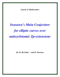 "Đề tài ""Iwasawa's Main Conjecture for elliptic curves over anticyclotomic Zp-extensions"""