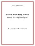 """Đề tài """" Gromov-Witten theory, Hurwitz theory, and completed cycles """""""
