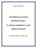 "Đề tài "" On finitely generated profinite groups, I: strong completeness and uniform bounds """