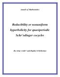 "Đề tài "" Reducibility or nonuniform hyperbolicity for quasiperiodic Schr¨odinger cocycles """