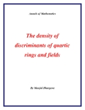 "Đề tài "" The density of discriminants of quartic rings and fields """