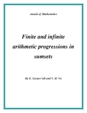"Đề tài ""  Finite and infinite arithmetic progressions in sumsets """