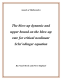 """Đề tài """"The blow-up dynamic and upper bound on the blow-up rate for critical nonlinear Schr¨odinger equation """""""
