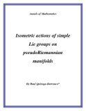 "Đề tài "" Isometric actions of simple Lie groups on pseudoRiemannian manifolds """