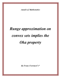 "Đề tài ""  Runge approximation on convex sets implies the Oka property """