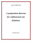 "Đề tài ""  A preparation theorem for codimension-one foliations """