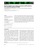 Báo cáo khoa học: Recent insights into cerebral cavernous malformations: the molecular genetics of CCM