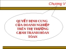 Chương V:  QUYẾT ĐỊNH CUNG CỦA DOANH NGHIỆP TRÊN THỊ TRƯỜNG CẠNH TRANH HÒAN TÒAN