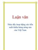 Luận văn: Thúc đẩy hoạt động xúc tiến xuất khẩu hàng nông sản của Việt Nam